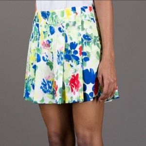 Alice & Olivia Watercolor Floral Pleated Shorts 4